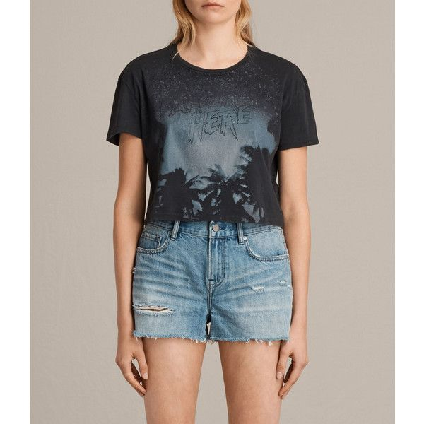 AllSaints Ceylon Carter Tee ($65) ❤ liked on Polyvore featuring tops, t-shirts, fadeout black, cropped graphic tee, print t shirts, short sleeve crop top, graphic crop top and crop top