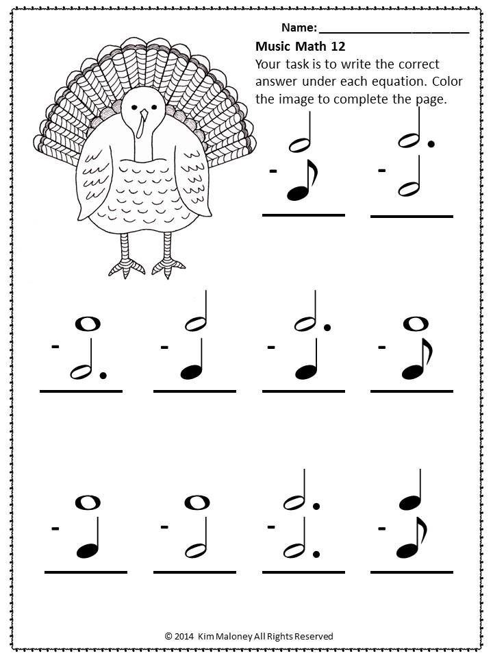 Music Worksheets 24 Thanksgiving Themed Music Math Sheets