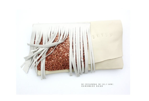White leather and glitter fabric clutch n31775 by GiovannaGiuliani, $89.00