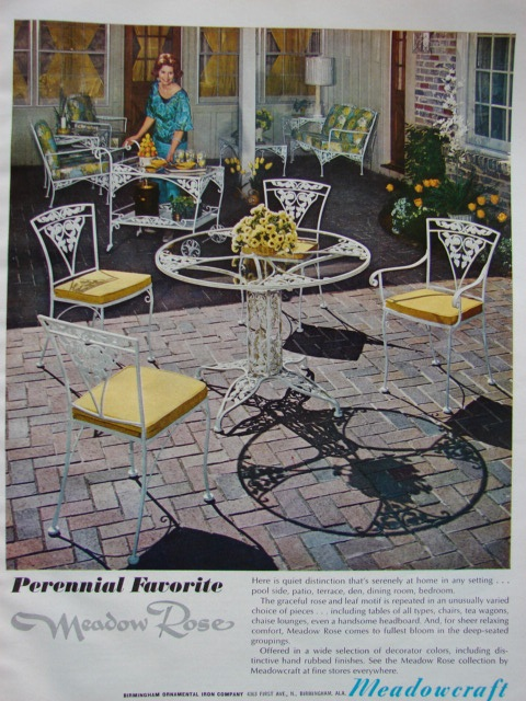 1968 MEADOWCRAFT Wrought Iron ROSE Outdoor Patio Dining Furniture Vintage Ad