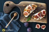 Bruschetta with Greek traditional Manouri cheese, figs, honey and walnuts