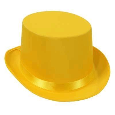 yellow satin sleek top hat - Webhats.com