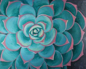 "Social Artworking Canvas Painting Design - Succulent I Succulents have an architectural form to them that make them unique in the plant world. Their desert colors and trendy status make them the perfect subject for this close up painting. Hang your completed work near a terrarium of live succulents for a great focal point in your home. CANVAS SIZE: 16"" x 20"" TIME TO PAINT: approximately 2 hours 30 minutes"