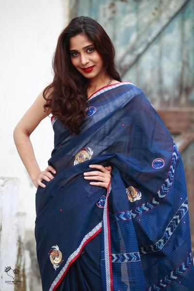 Indigo Handloom Cotton Yin Yang Saree