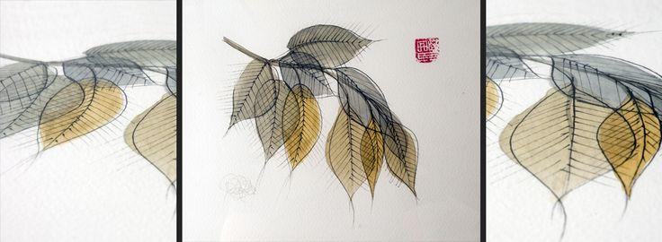 """PRUNUS AVIUM es una ilustración realizada con motivo de una exposición en Cádiz para una colección de pinturas sumi y acuarelas. La ilustración pretende extender el concepto """"caricatura"""" al mundo vegetal, tratando de hacer reconocible a una especie a través de sus rasgos formales mas significativos, sin caer en el estereotipo. En este caso se ha pretendido caricaturizar a un cerezo, PRUNUS AVIUM, pero sin representar sus flores, las famosas """"Sakura"""", ya que éste hubiera sido el camino fácil."""
