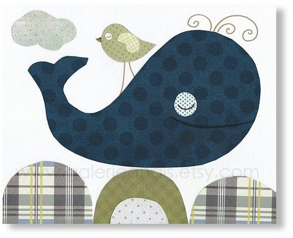 Whale nursery Decor - blu oceano verde mare - arte bambino uccello - ragazzi decorazione camera da letto bagno parete - My Little Friend stampa