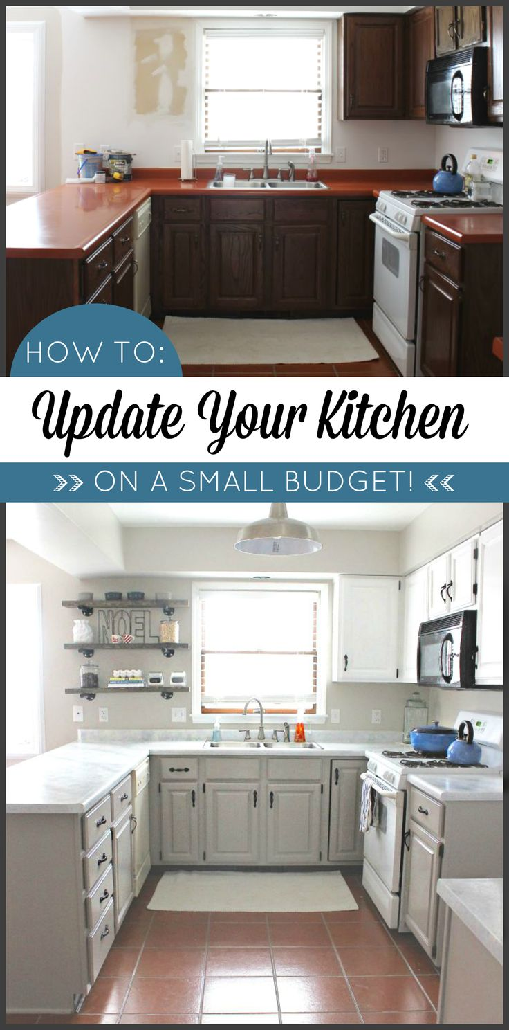 Kitchen makeover on a budget transform your kitchen with for Painting kitchen countertops before and after