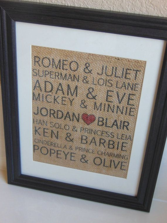 Valentine's Day Gift for him or her - Famous Couples Burlap Print...custom personalization with couple's name on Etsy, $25.00