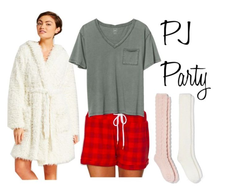 Pajama party outfit: Knee high socks, plaid boxer shorts, baggy tee shirt, fluffy bathrobe