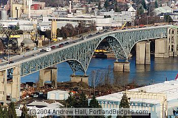 Ross Island Bridge: The Ross Island Bridge was designed by Gustav Lindenthal, a world-famous and veteran bridge designer [1], after a scandal in the 1920's that also involved the Burnside Bridge and Sellwood Bridge, which were constructed at roughly the same time.[2]