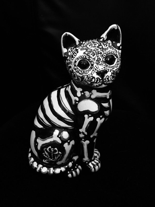 Day of The Dead Cat Sugar Skull Kitty Figure Statue Collectible OOAK Kitten | eBay