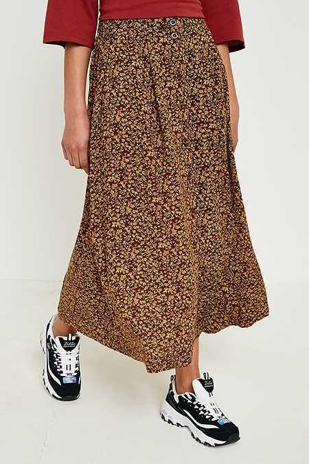 Urban Renewal Vintage Remnants - Falda midi marrón con flores