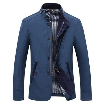 Mens Casual Slim Fit Zipper Single-breasted Cotton Fashion Jacket at Banggood