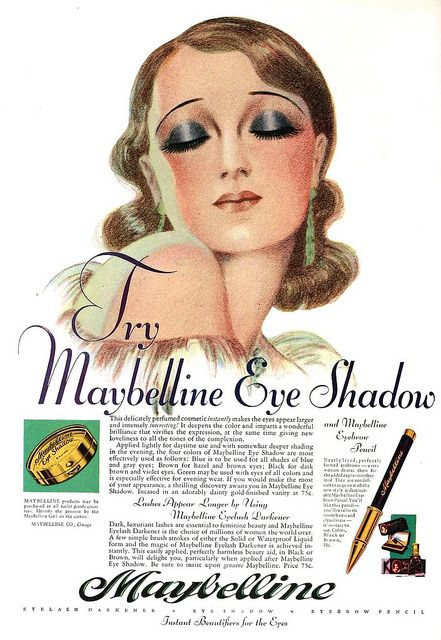 Maybelline Eye Shadow ad, August 1930 - what a beautiful illustration. #vintage…