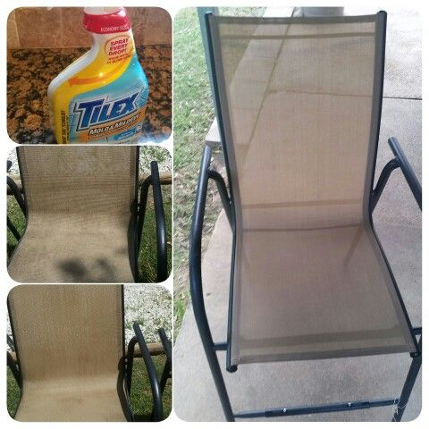 Scrub free way to clean your moldy patio furniture. Just spray with Tilex Mold and Mildew (with bleach) and rinse. I couldn't beleive my eyes. I sprayed one, turned around to do the other and the first one was virtually mold free without even touching it! I had first tried to pressure wash with a waterhose and it didn't work like the Tilex did. CRAZY!
