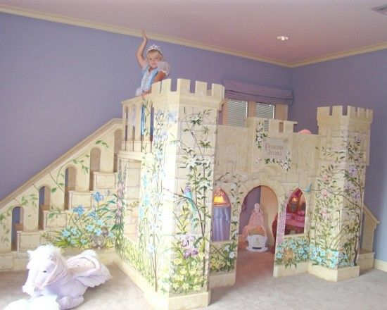 Amazing Kids Rooms Decorating Ideas For Girls: Traditional Castle Princess Loft Bed With Stairs And Slide Custom Kids Furniture Princess Playhouse ~ ttbocaitong.com Bed Inspiration