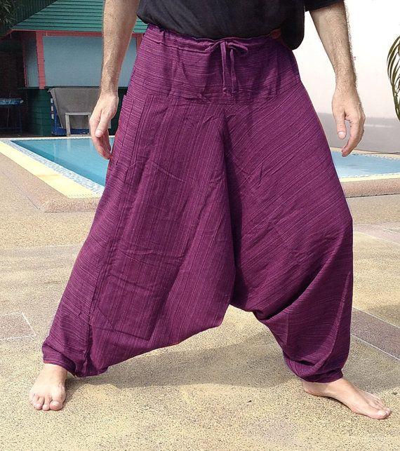 Mens pantaloni Baggy - Harem Pants - buona qualità cotone - fatto a Fade. Strisce viola.