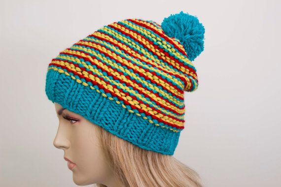 Pompom beanie knited colorful   beanie hat winter  by SenasShop