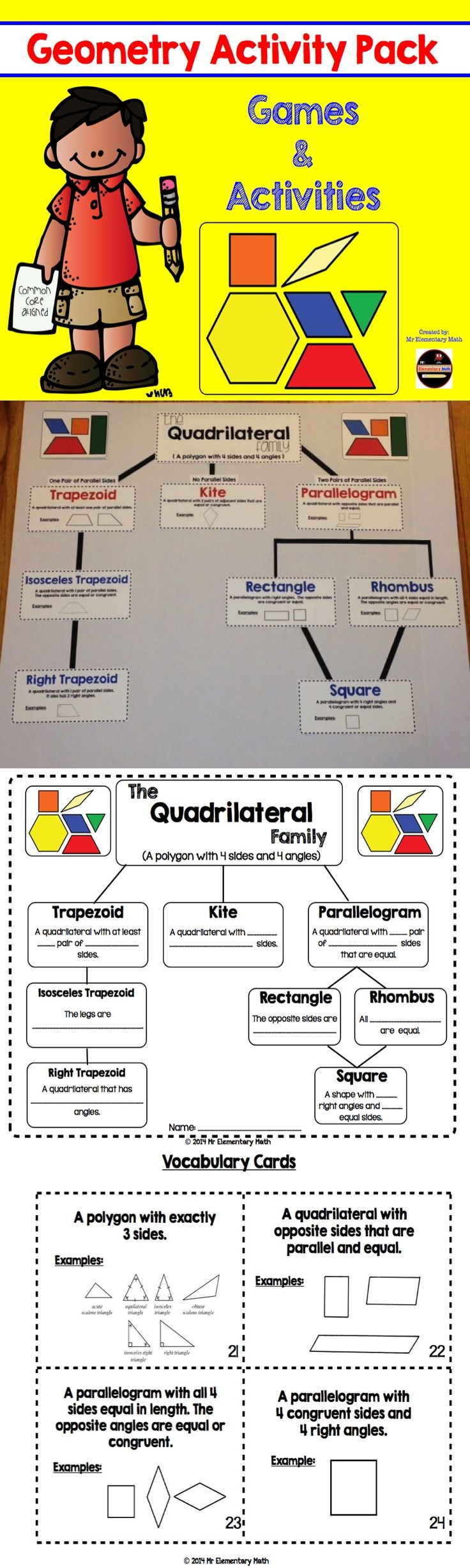 This 78 page Geometry Activity Pack is full of games, vocabulary activities, posters to strengthen your students understanding of the concept. Check it out! $