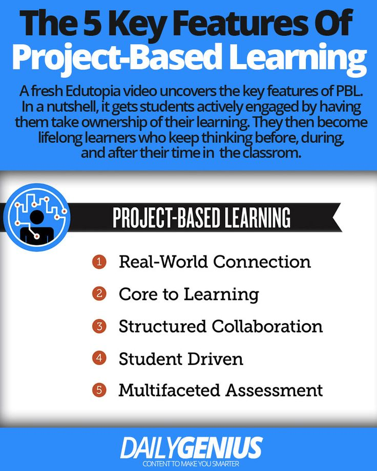 Infographic on the 5 key features of project-based learning. …