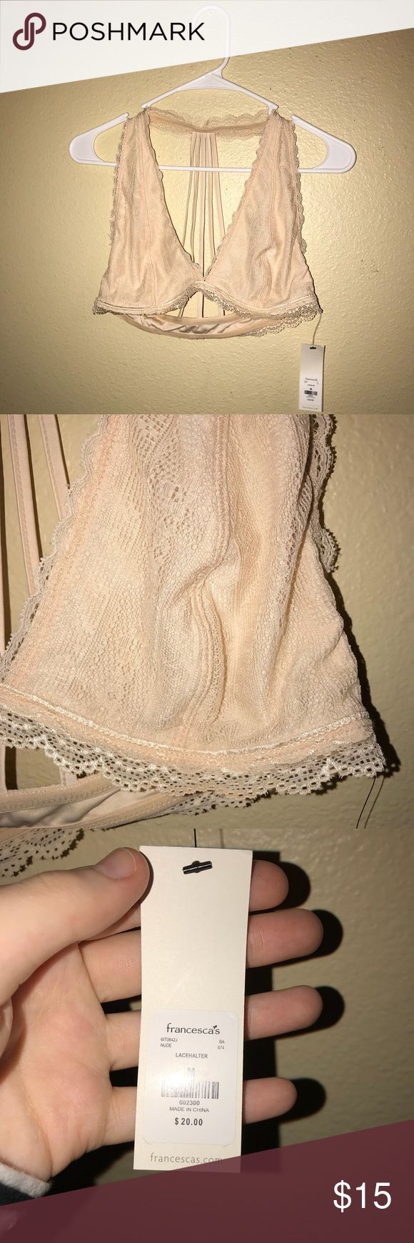 Francesca's Beige Lace Trim Bralette Brand new, tags still attached. This bralette is so cute and perfect for any season. It's great to be used as a regular bra or with tops or dresses that are lower cut, off the shoulder, or have a lower back. It's a beige color and is a size medium.     • all sales final (unless due to an error on my part)  • smoke free home  • no trades or holds  • no models Francesca's Collections Intimates & Sleepwear Bras