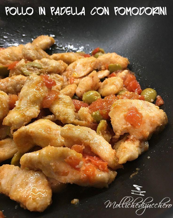 Il pollo in padella con pomodorini ed olive è un secondo piatto delizioso, facile e veloce da preparare. Sono spesso alla ricerca di piatti semplici ma saporiti che si preparino in breve tempo, quando la sera rientro da lavoro è quasi sempre tardi e tra le bimbe e la casa non ho molto tempo da dedicare alla cena
