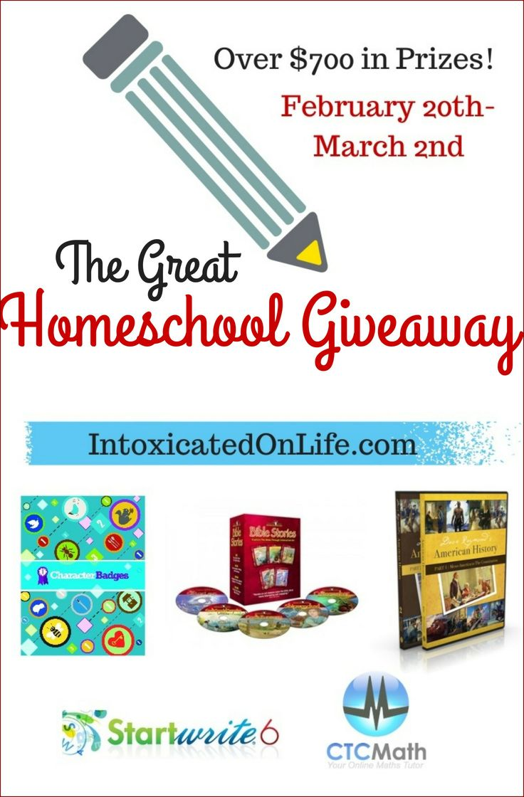 The Great Homeschool Giveaway! 7 winners and over $700 in prizes. Enter now! (ends March 2, 2014)