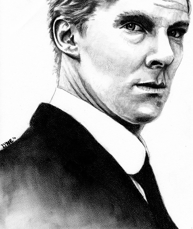 Benedict Cumberbatch as Christopher Tietjens in Parade's End, Black Conté Pastel pencil on Canson Mi-Teintes Paper in Crème.