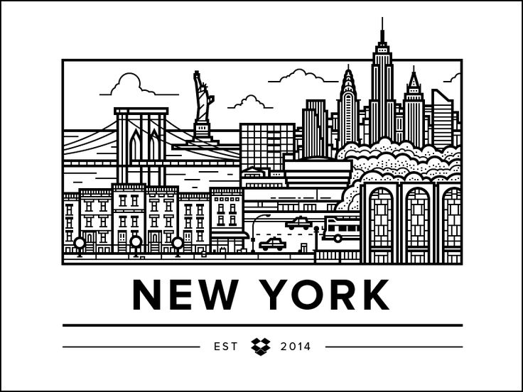 Dropbox has a New York office too! Linda helped out a bunch with landmarks and composition for this one.