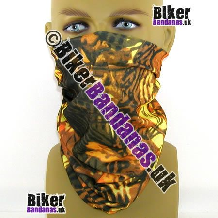 Muted autumnal Trees with brown barks and golden copper leaves on a beige Multifunctional Headwear / Neck Tube Bandana. One of over 400 designs for Men and Women