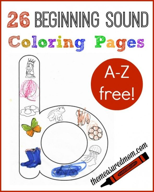 26 free beginning sounds coloring pages!  Have your child color the pictures that start with each letter.