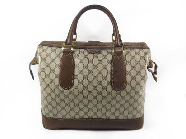 df6eb37da4b Vintage Gucci brown GG monogram Supreme travel bag boston duffle doctor bag