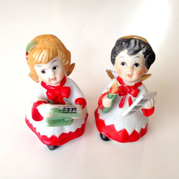 Singing Carolers Candleholders Figurines Vintage By: Christmas Angel Caroler Figurine Pair Vintage By