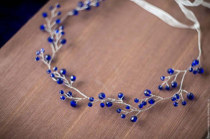Купить Темно синий венок - тёмно-синий, венок, венок невесте, синяя свадьба тёмно-синий, венок, венок невесте, синяя свадьба, синй цвет, синий венок, синий ободок, синяя заколка, волосы невесты, свадебные волосы, свадьба, синее украшение, синий цвет