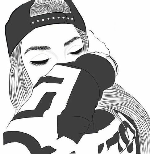 Gambar Outline Girl And Tumblr Wallpaper Tumblr Girl Drawing