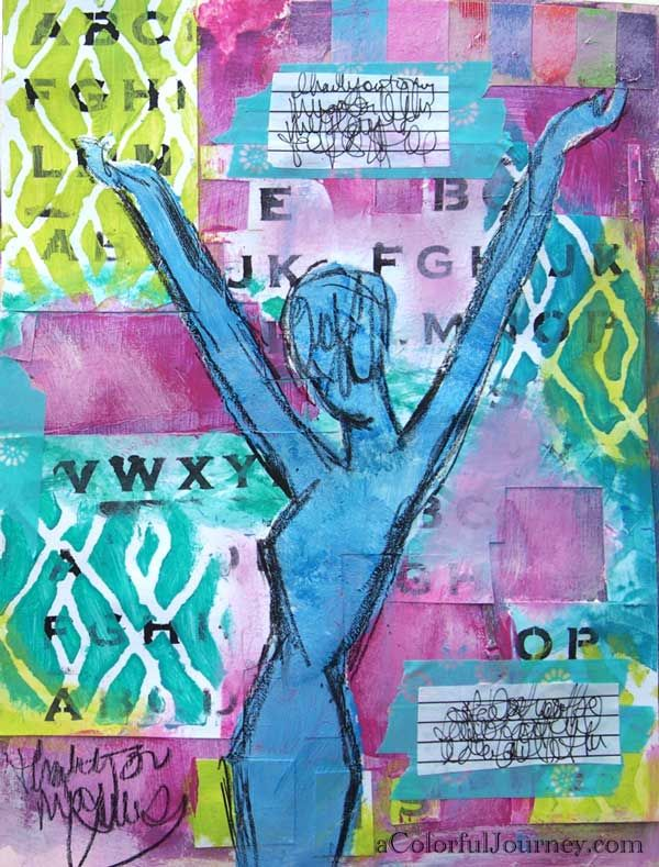 Telegram from My Muse - Video of Carolyn Dube Art Journaling with StencilGirl stencils in a art journal.