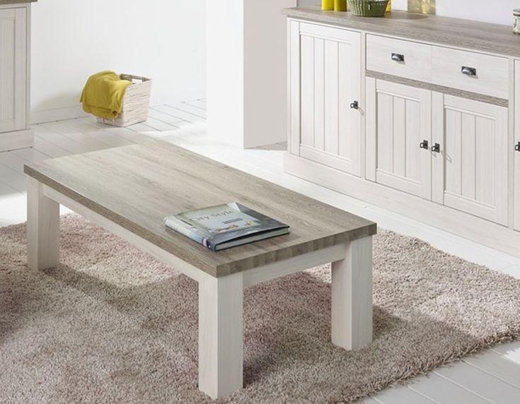 Table basse contemporaine couleur chêne blanc JEANNE 2