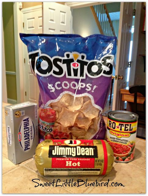 Jimmy Dean Sausage dip - I use the Hot Jimmy Dean and the extra spicy habenaro Ro*Tel.  Scoops are great, but Pita chip are more hearty and stand up to the robust dip better