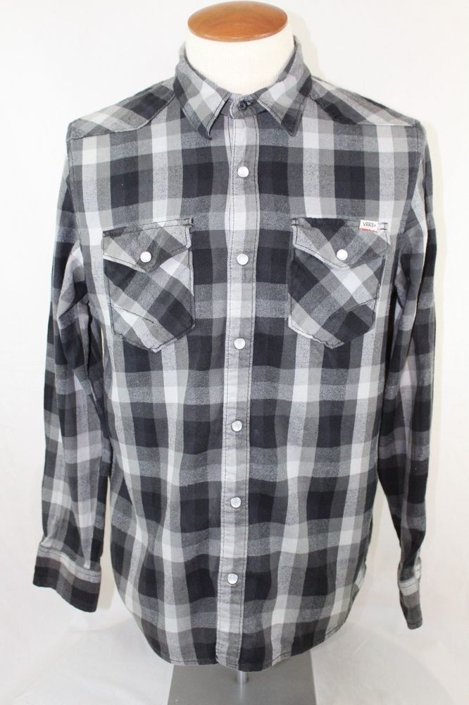 Vans Off The Wall Black/Grey/White Flannel Size Medium #VANS #Flannel