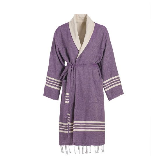 TOPRAK Turkish Towel Bathrobe is high-quality, 100% natural Turkish cotton with Raw Terry Layer inside and without fringe.