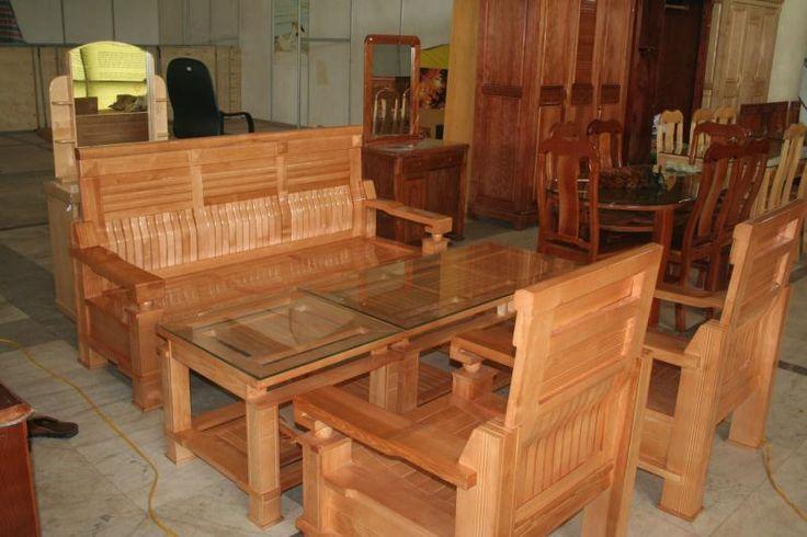 Bộ bàn ghế phòng khách gỗ sồi nga kiểu dáng sang trọng