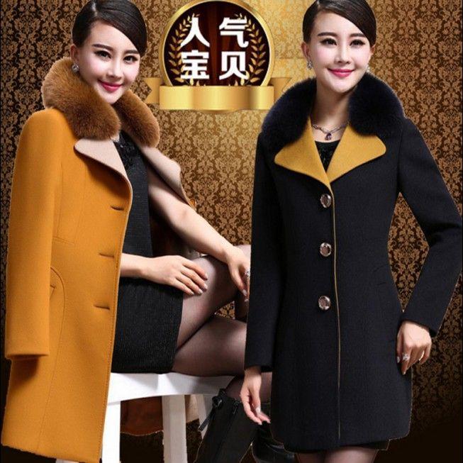 Automne et hiver imitation laine manteau survêtement de femmes pardessus de laine avec faux renard col de fourrure nouvelle arrivée livraison gratuite