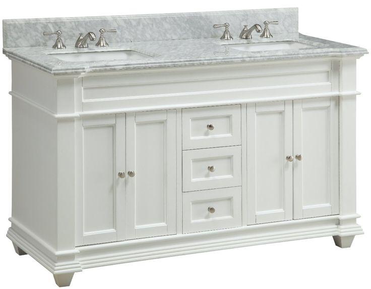 "60 inch Double Sink Bathroom Vanity Shaker White Carrara Top (60""Wx22""Dx36""H) CHF085"