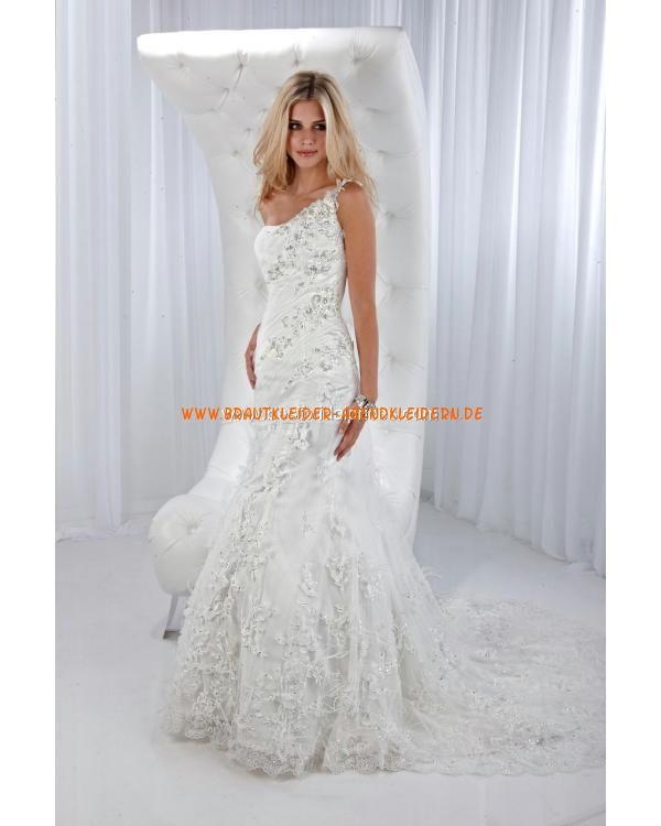 Preiswerte Schönste Brautkleider aus Softnetz mit Applikation