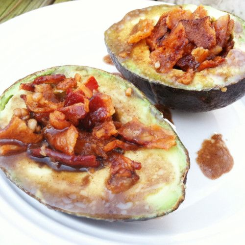 Bacon Avocado Cups with Balsamic Glaze - you have to try these OMG!!!!! www.PrimallyInspired.com