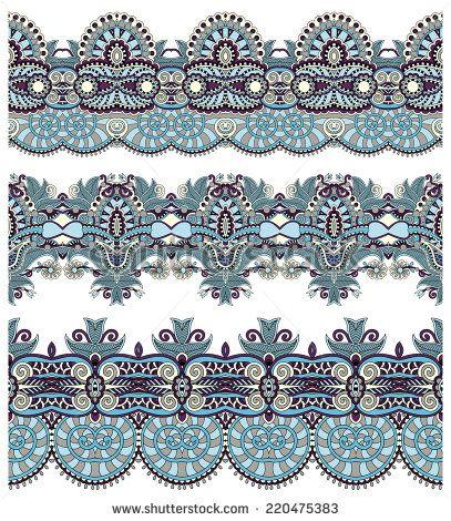 бесшовные этнических цветочные Пейсли узоров, границы множество, украинская племенная орнамент для печати или вышивки лентой, или для дизайна полиграфии или веб - вектор акций