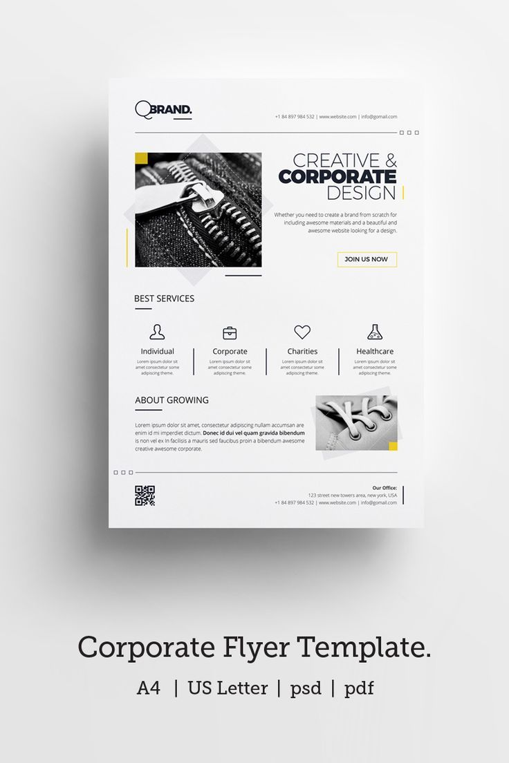 Minimal, Clean, Simply, Black and White Corporate Flyer Corporate Identity Template