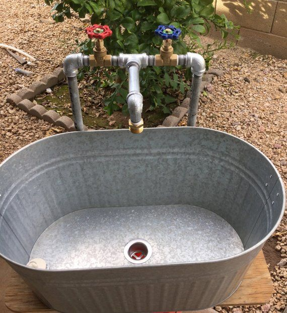 Oval Laundry Sink With Industrial Galvanized Faucet Etsy In 2020