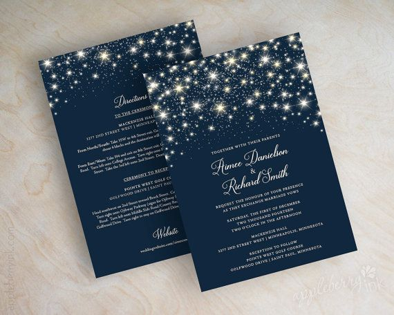 These star wedding invitations are perfect for any evening wedding! Shown in navy blue, these wedding invitations can coordinate with any wedding color scheme. Choose these starry night wedding invitations for your upcoming nuptials and they are sure to grab your guests attention. Please note that the navy background is accented with silver and gold stars, theyre not all silver. The light gold adds an extra element of depth to the starry night. Also, when this wedding Invitationis printed on…