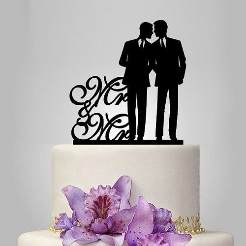 Mr and Mr same sex cake topper, gay wedding cake topper   walldecal76 - Housewares on ArtFire